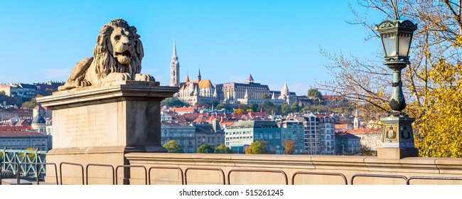 Lion of Chain Bridge, Buda skyline panorama in background, Budapest, Hungary