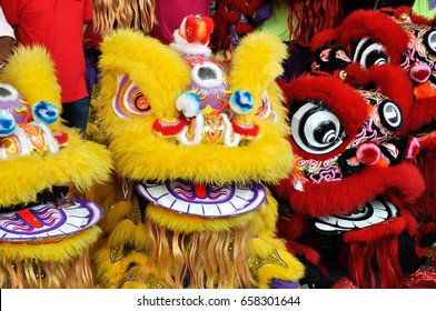 Lion dance performance during Chinese New Year Festival at Seremban, Malaysia. It was a traditional and cultural dance by Chinese since past.
