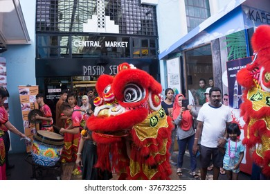 Lion Dance Show Celebration of Chinese New Year 2016 at Central Market Kuala Lumpur - 09th February 2016