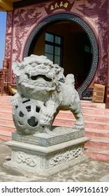 Lion dog guardian statue at the temple
