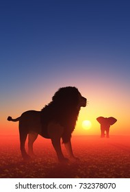 Lion and elephant at sunset.,3d render