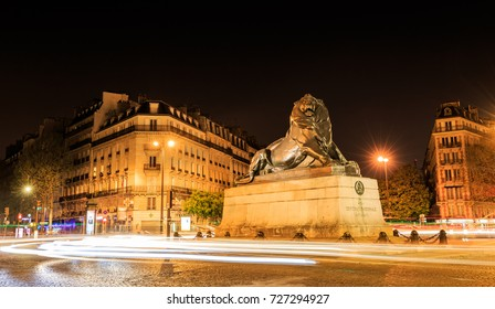 Lion of f Belfort statue in Denfert Rochereau square
