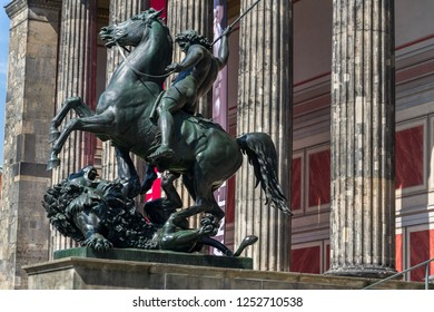 The Lion Fighter equestrian bronze statue by Albert Wolff from 1858 outside the Altes Museum in Berlin, Germany