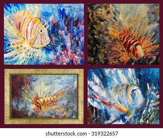 Lion fish. Different views of Lion fish. Painting, pictorial art