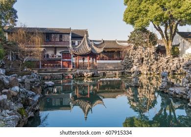 lion forest garden (shiziin) in Suzhou, China. UNESCO heritage site.