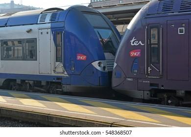 LION, FRANCE - DECEMBER 10, 2016: French train SNCF in Lion, France.