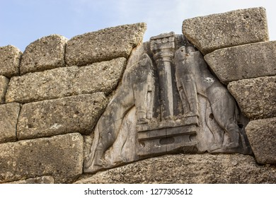 Lion gates sign in Mycenae ancient Greece city , tourist sightseeing concept, world heritage site