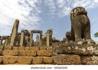 Lion guarding ancient Angkor Wat temple, Cambodia