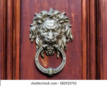 Lion head door knocker.