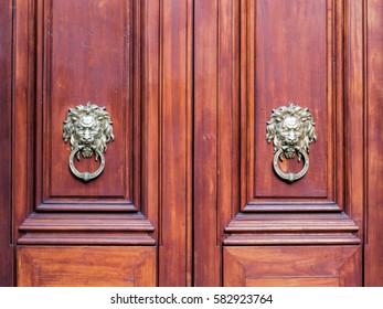 Lion head door knockers, two doors.