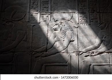 The lion head goddess Sekhmet in Edfu Temple, Egypt