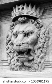 Lion head sculpture at Pitti Palace, Florence, Italy.