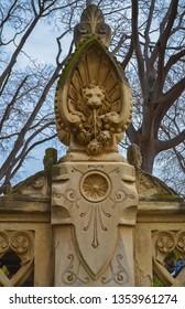 Lion head statue in Ciutadella park, Barcelona, Spain