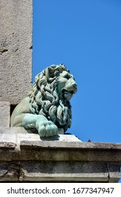 Lion head statue on the obelisk of Arles, a city and commune in the south of France