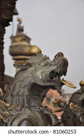 Lion head symbols of power and protection in Bhaktapur Temple, Kathmandu Valley, Nepal