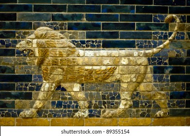 A lion of the Ishtar Gate of Babilon in the Pergamon Museum in Berlin