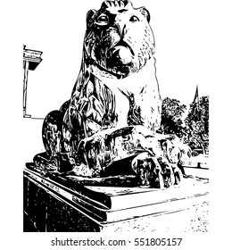Lion of Ismoil Somoni Monument illustration Dushanbe, Tajikistan. Sculpture made of colored metal, 13 meters high State coat of arms in hands of Somoni