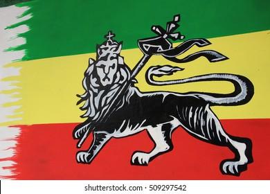 The Lion of Judah wall art, symbol of the Rastafari, in Shashamane, Ethiopia / Land of Zion