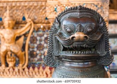 Lion, Khmer mythical creature, Thailand Grand Palace