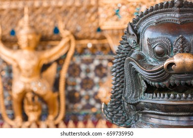 Lion, Khmer mythical creature, Thailand Grand Palace