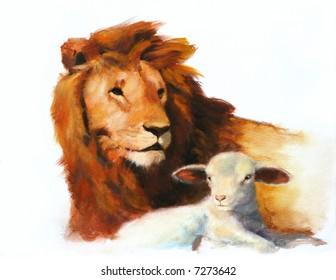 Lion And Lamb Images Stock Photos Vectors
