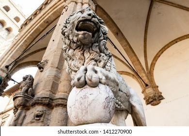 Lion at Loggia dei Lanzi in Piazza della Signoria, Florence, Italy