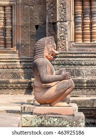 Lion and Monkey Gardians Carvings at Banteay Srei Red Sandstone Temple,  Angkor Wat, Cambodia