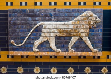 Lion on Babylonian mosaic, fragment of the Ishtar Gate in Istanbul, Turkey