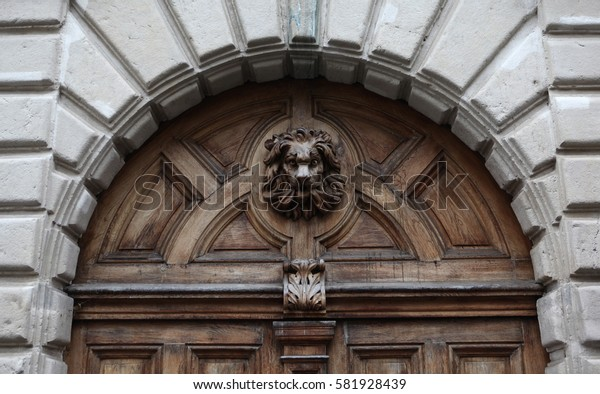 Lion on the old door. Medieval style. Lyon. France.