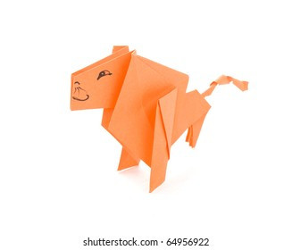 Lion out of paper on a red background