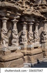 Lion pillars in sandstone in ancient Hindu temple, Kanchipuram, India