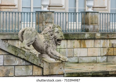 Lion sculpture, 1793, by Franciszek Pinck and Andre Jean Le Brun in front of the Baroque building of the Palace on the Isle in Warsaw Royal Baths Park