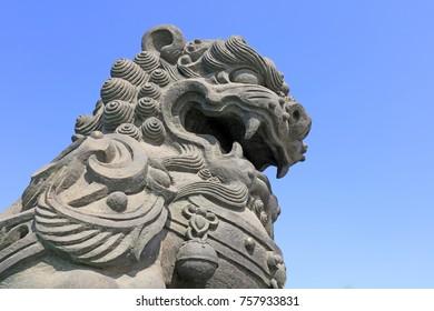 Lion sculpture, closeup picture