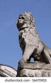 Lion Sculpture in front of Westminster Abbey. London