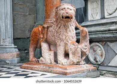 Lion sculpture in historical center of Bergamo