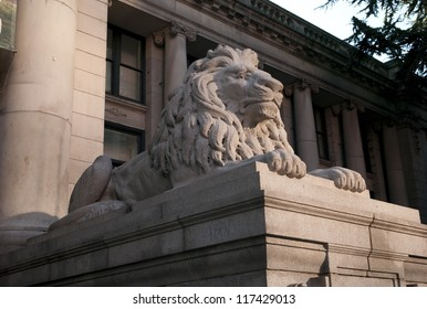 Lion sculpture at the Vancouver Art Gallery in  Vancouver, British Columbia, Canada