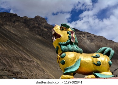 The Lion shaped symbol on the corners of Tabo Monastery in Spiti Valley, Himachal Pradesh, India