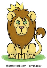 A lion sits on the grass wearing a crown.