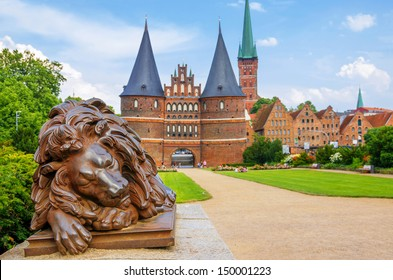 Lion statue beside Holstein Gate at Lubeck. Germany