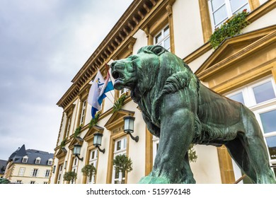 Lion statue in the City hall of Luxembourg City