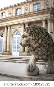 Lion statue in front of Monrepos Castle (Baden-Wuerttemberg, Germany)
