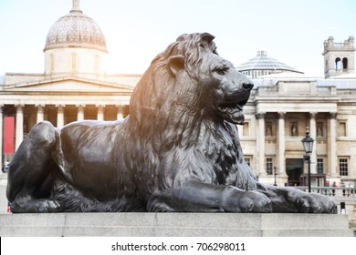 lion statue at the gate of the British museum