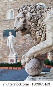 Lion statue at the Loggia dei Lanzi in Palazzo Vecchio, Florence. Lion Medici, Firenze landmarks