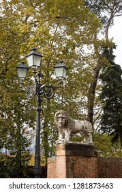 Lion statue in Lucca (Tuscany Italy)