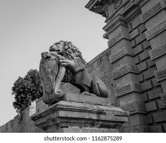 Lion Statue at Mdina Gate Malta, black and white photography summer 2018