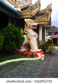 lion statue near thai buddhist temple in Penang, Malaysia