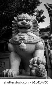 Lion statue on chinese temple in Thailand