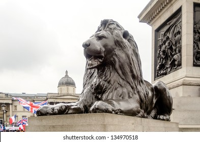 Lion Statue at Trafalgar Square, London, UK