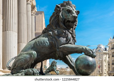 Lion statues at the entrance of the Spanish Parliament, Madrid