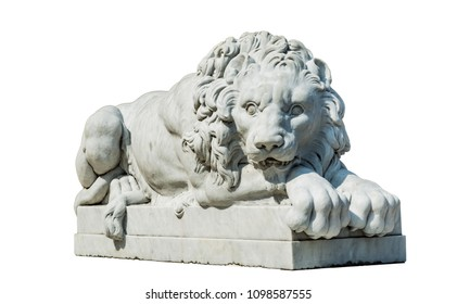 Lion stone statue isolated on white background include clipping path